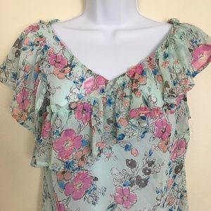 A New Day Floral Print XS Flutter Sleeve Top